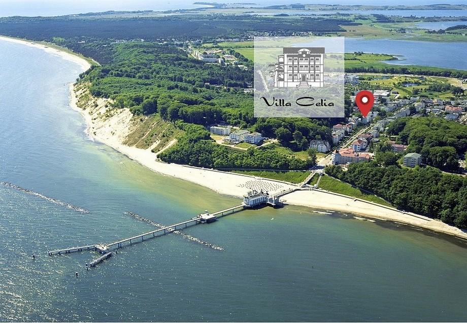 Die Lage der Villa Celia Ferienwohnungen Sellin nur wenige Meter vom Strand entfernt